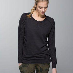 LULULEMON RUNAMUCK Henley striped shirt Black 6